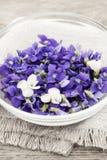 Violetas comestíveis na bacia Fotografia de Stock Royalty Free
