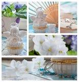 Violetas y collage de las decoraciones de los ángeles Fotos de archivo