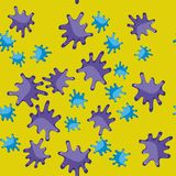 Violeten och blått bläckar ner sömlös modell 626 för tecknade filmen Arkivbilder