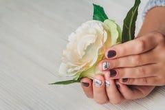 Violeten spikar konst med den utskrivavna vita pilbågen Royaltyfri Foto