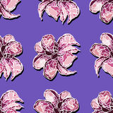 VioletFlower-02. Pattern made from hand drawn flowers on the violet background. Vector illustration Royalty Free Stock Photos