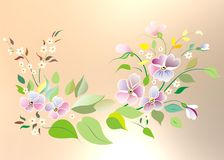 Violets. Image of the opened flowers with leaves, twigs and buds in the style of Russian folk crafts royalty free illustration