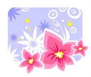 Violets. Gentle pink flowers on a violet background Royalty Free Stock Images