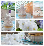 Violets and angels decorations collage stock photos