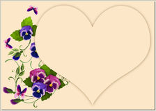 Violets with heart. Bouquets of violets on a light background with heart Stock Image