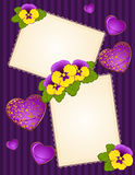 Violets with lace ornaments Stock Photography