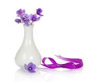 Violets in vase and ribbon Royalty Free Stock Images