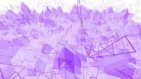 Violett eller purpurfärgad låg poly vinkande yttersida som coolt bakgrunden Violett geometriskt vibrerande miljö eller pulserar stock video