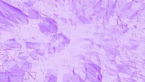 Violett eller purpurfärgad låg poly vinkande yttersida som den enkla bakgrunden Violett geometriskt vibrerande miljö eller pulser stock video