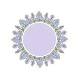 Violett etikett med blåa hyacintblommor Royaltyfri Foto