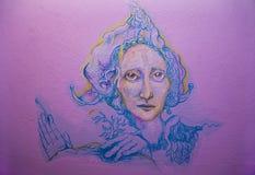 Violett fairy keykeeper on wall vector illustration