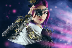 Violett flicka fotografering för bildbyråer