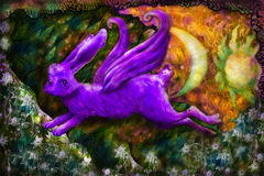 Violett flying dreamy rabbit in fairy-tale land, illustration Stock Image