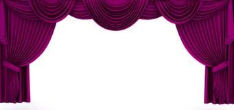 Violett gardin inramar Arkivbild
