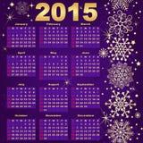 Violett-guld för nytt år 2015 kalender Arkivbilder