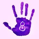 Violett handprint och nummer 8, för kvinnornas dag Arkivfoton