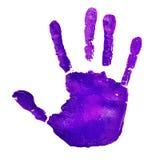 Violett handprint som visar idén av att stoppa våld mot Fotografering för Bildbyråer