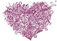 Violett hjärta i zentanglestil bakgrund isolerad white Växt- modell för den vuxna linjen konst för spänning för färgläggningbok a Arkivfoto