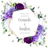 Violett och vit vanlig hortensia, purpurfärgad ros, iris, kärnad ur eukalyptus vektor illustrationer