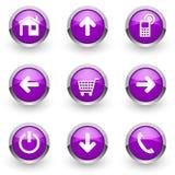 Violett rengöringsduksymbolsuppsättning Royaltyfria Bilder