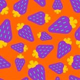 Violett sömlös jordgubbemodell hav för close för bakgrundsbärbuckthorn upp Sommartextur bakgrund cirklar den orange prydnadfyrkan vektor illustrationer