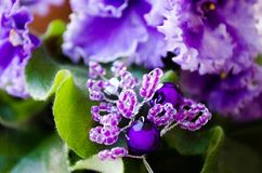 violetta różowy fiołek Kędzierzawy fiołek Sprig koraliki i koraliki Handmade akcesoria zdjęcie stock