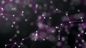 Violette abstrakte Technologie und caliginous Hintergrund mit Plexuselementen und Schärfentiefe Einstellungen Wiedergabe 3d stockbild