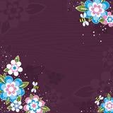 Violette achtergrond met bloemen Royalty-vrije Stock Foto