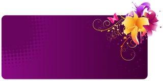 Violette banner met leliebloemen Stock Afbeelding