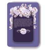 Violette Blumenkarte Greeeting mit Pastellmohnblumen Stockfoto