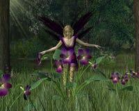 Violette Fee in het Bos van de Lente Stock Fotografie