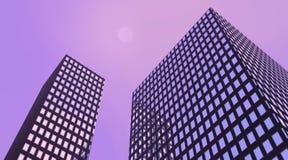 Violette gebouwen Royalty-vrije Stock Foto