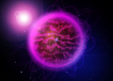 Violette grote planeet in koude sapce stock illustratie