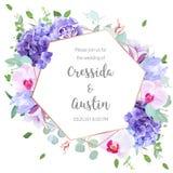 Violette Hortensie, purpurrote Gartennelke, Glockenblume, Orchidee, Iris, euc Lizenzfreie Stockbilder