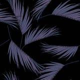 Violette kokosnotenpalmbladen met de hand het trekken en schets met lijn-kunst naadloos patroon stock illustratie