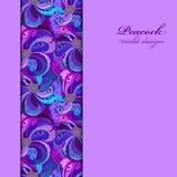 Violette, lilas et plumes bleues de paon Conception verticale de frontière Photo stock