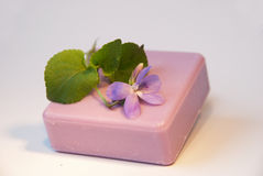 Violette natuurlijke zeep Stock Foto's