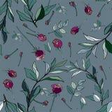 Violette Rosen mit grünen Blättern auf einem blauen Hintergrund Nahtloses VE lizenzfreie abbildung