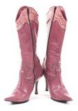 Violette sexy uitstekende laarzen. stock afbeelding