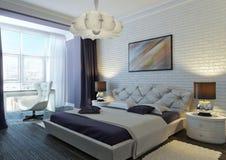 Violette slaapkamer Stock Fotografie