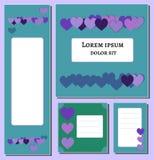 Violette und lila Herzsatz-Fahne Schablone Für Abdeckung Plakatentwurfsmedien, Druck, Flieger Dekorationszeitschrift, Broschüre vektor abbildung