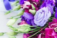 Violette und malvenfarbene Eustomablumen Lizenzfreie Stockfotos