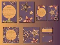 Violette und orange Stern ähnliche entworfene Broschüren, Visitenkarten und Einladungen lizenzfreie abbildung