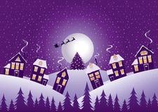 Violette Weihnachtsnacht Stockfoto