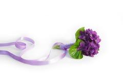 Violetter Blumenstrauß mit silk Bogen stockbilder