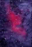 Violetter Raum des Hintergrundes mit Milchstraße Stockfotos
