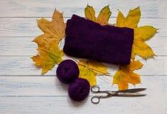 Violettes Garn, Knitgewebe, hölzerne Stricknadeln, Scheren und Stockfotografie