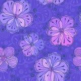 Violettes Gekritzel blüht nahtloses Muster des Vektors Lizenzfreie Stockfotografie
