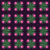 Violettes Vektormuster der nahtlosen Tulpenweinlese Lizenzfreies Stockbild