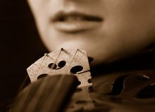 Violin. Girl with violin Stock Photos